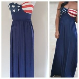 🔴New Strapless American Flag Maxi Long Dress SM